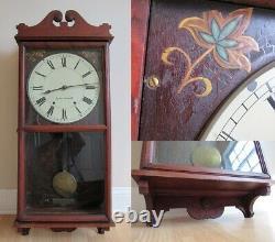 Antique SETH THOMAS wall clock cherry LARGE 37 RUNS & WILL SHIP