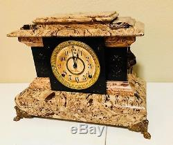 Antique Seth Thomas 1893 Butternut Adamantine 8-day Mantle Clock Cleaned Working