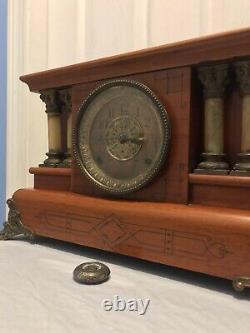 Antique Seth Thomas 4 Column Adamantine Lion Head Shelf Clock