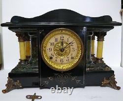 Antique Seth Thomas 4 Full Pillar Black Marbled Adamantine Shasta Mantle Clock