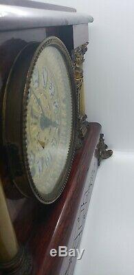 Antique Seth Thomas 6 Column Adamantine Mantle Clock RARE w key & weight bust