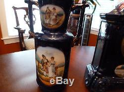 Antique Seth Thomas 8 Day Garniture Set Cobalt Blue Porcelain Courting Scenes
