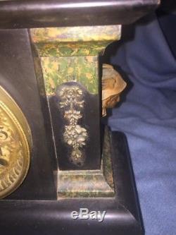 Antique Seth Thomas 8 day time and strike adamantine mantel clock