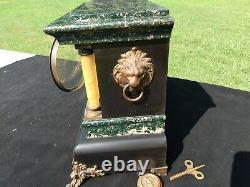 Antique Seth Thomas Adamantine 6 Column Green Mantle Clock 89C