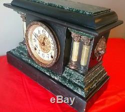 Antique Seth Thomas Adamantine Black Mantel Mantle clock Movement 119,11 Jewels