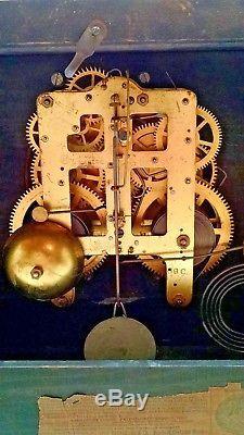 Antique Seth Thomas Adamantine Eight Columns Lions Heads 8 Day Mantle Clock