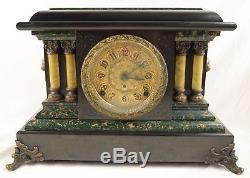 Antique Seth Thomas Adamantine Faux Marble Mantle Clock