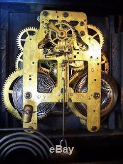Antique Seth Thomas Adamantine Mantle Clock Chime Lion Head Marblized WORKS