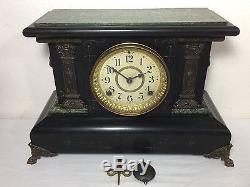 Antique Seth Thomas Adamantine Mantle Clock PARTS REPAIR Key Pendulum Included