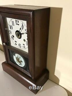Antique Seth Thomas Alarm Mantle Gong Clock One Day Hand Painted Door with Key