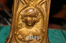 Antique Seth Thomas Art Nouveau Mantel Clock-Gilt Gold-Victorian Woman Portrait