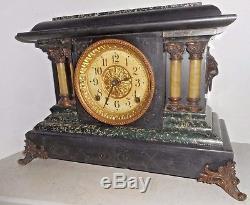 Antique Seth Thomas Art Noveau Chime Mantel Clock Green Adamantine 8 Day Working