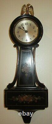 Antique Seth Thomas Blackstone Banjo Time Piece Wall Clock 8-Day Mechanical