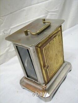 Antique Seth Thomas Brass Case Carriage Clock Glass Side Window Alarm