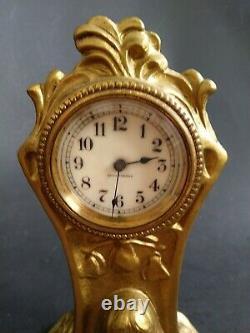 Antique Seth Thomas Bronzed. Lady Mantel Desk Clock Floral Art Nouveau Cast