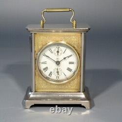 Antique Seth Thomas Carriage Alarm Clock, Chrome Case, Glass Window, Stamped