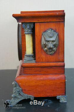 Antique Seth Thomas Cherry Adamantine 295E 4 Pillar Imperial Mantel Clock Lions