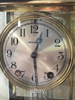 Antique Seth Thomas Crystal Regulator 4 Glass Mantle Clock All Original Brass
