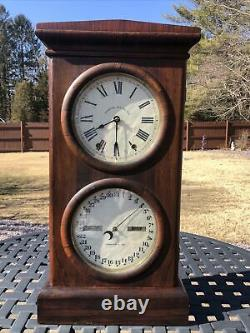 Antique Seth Thomas Double Dial Calendar Clock 8 Day, Time/strike