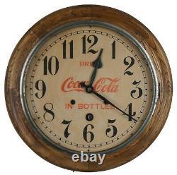 Antique Seth Thomas Drink Coca Cola Bottles Round Oak Wall Clock Peekaboo 16