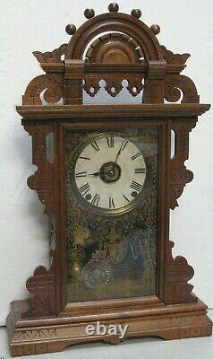 Antique Seth Thomas Eclipse 8 Day Ball-top Shelf Mantle Clock Working With Alarm