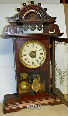 Antique Seth Thomas Eclipse Ball Top Shelf Parlor Mantle Clock Working With Alarm