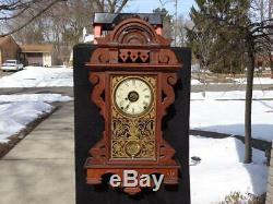 Antique Seth Thomas Eclipse Balltop Walnut Wall Clock Original Painted Glass