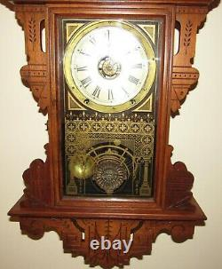 Antique Seth Thomas Eclipse Hanging Kitchen Wall Clock with Alarm 8-Day Nice