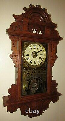 Antique Seth Thomas Eclipse Hanging Wall Clock with Alarm 8-Day Nice One