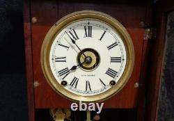 Antique Seth Thomas Eclipse Walnut Balltop Shelf Mantle Clock Painted Glass Nice