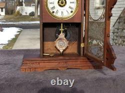 Antique Seth Thomas Eclipse Walnut Balltop Shelf Mantle Clock Painted Glass Runs