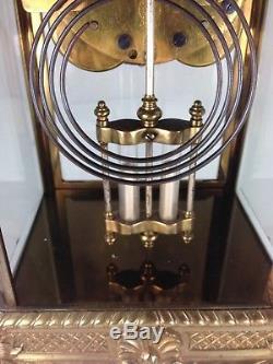 Antique Seth Thomas Empire #13 The Hunt Dog & Elk Motif Crystal Regulator Clock