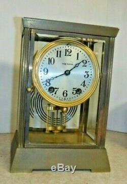 Antique Seth Thomas Empire 302 Chime Clock 8 Day Crystal Regulator Working W Key