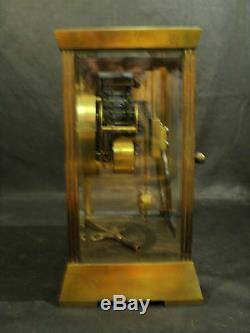 Antique Seth Thomas Empire Brass Crystal Regulator Clock, Unusual Pendulum