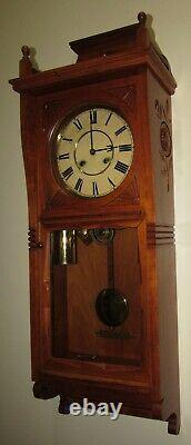 Antique Seth Thomas Flora Two Weights Driven Wall Regulator Clock 8-day