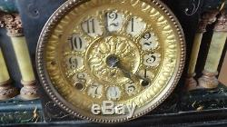Antique Seth Thomas Four Pillar Adamantine Mantle Clock, Label #295F