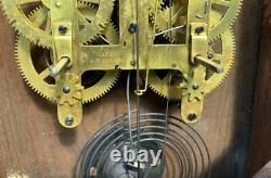 Antique Seth Thomas Globe Wall Regulator Office Clock Walnut Cabinet Runs Good