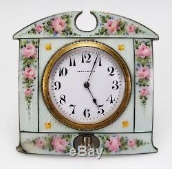 Antique Seth Thomas Guilloche Enamel Sterling Silver Travel Desk Clock