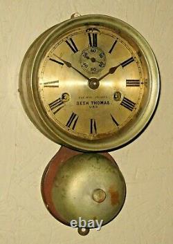 Antique Seth Thomas MONITOR Outside Bell Ship's Strike Wall Clock Working 1879