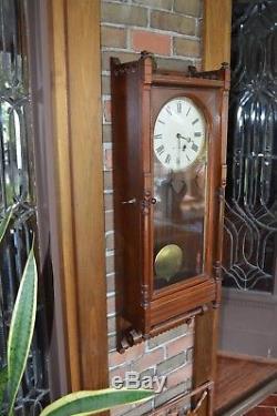 Antique-Seth Thomas Mahogany Queen Anne Wall Clock-Ca. 1880 Keeps Perfect Time