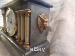 Antique Seth Thomas Mantel Clock Lions and Pillars 16