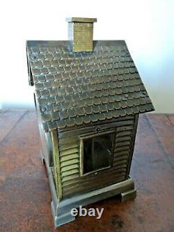 Antique Seth Thomas Novelty Brass House Shaped Desk Clock -Winding Mechanism Key