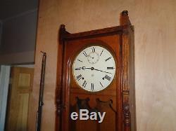 Antique-Seth Thomas-Oak Queen Anne Wall Clock-Ca. 1880-To Restore-#P170