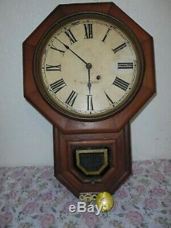 Antique Seth Thomas Octagon Wall Regulator Clock, WORK