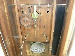 Antique Seth Thomas Pillar & Scroll Wooden Works Large Mantel Clock