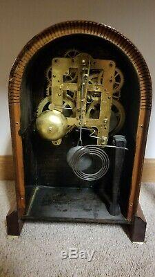 Antique Seth Thomas Prospect 3 Doric Mahogany Clock with Inlays, Circa 1911