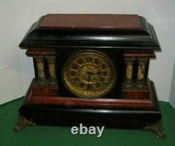 Antique Seth Thomas Red Adamantine Milo Art Noveau Mantel Chime Clock Working