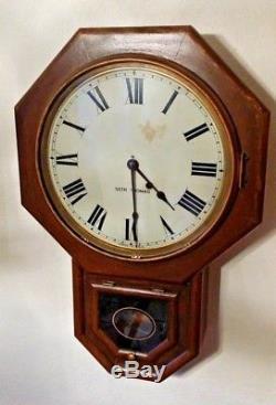 Antique Seth Thomas School House Regulator Wall Clock Keeps Good Time 12 dial