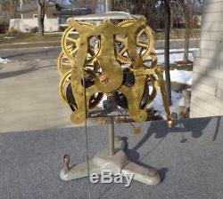 Antique Seth Thomas Shelf Mantle Double Dial Calendar Clock Movement Runs Good