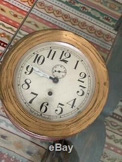 Antique Seth Thomas Ships Clock withKey Workin! (7.25 in) Large